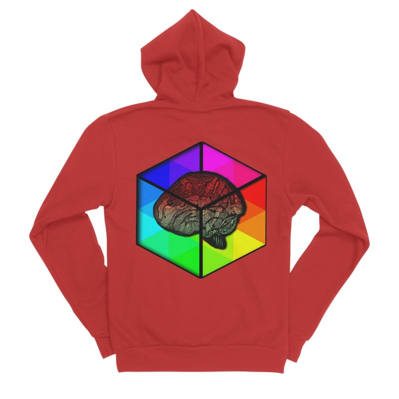 Brain Cube on Color Women's Zip-Up Hoody by MCGILSKY DESIGN SHOP