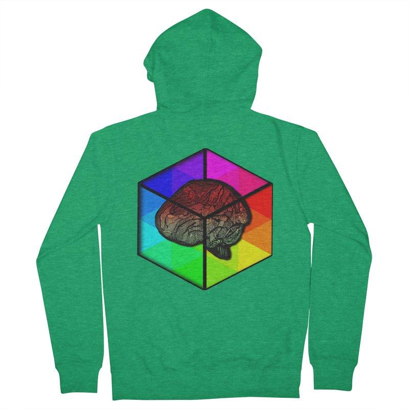 Brain Cube on Color Men's Zip-Up Hoody by MCGILSKY DESIGN SHOP
