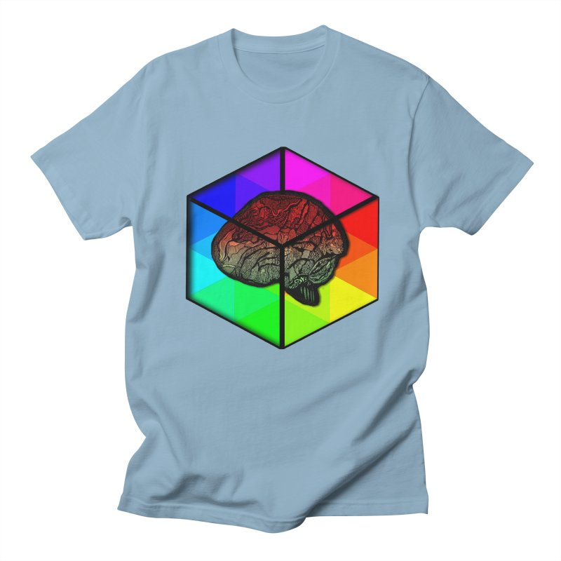 Brain Cube on Color Men's T-Shirt by MCGILSKY DESIGN SHOP
