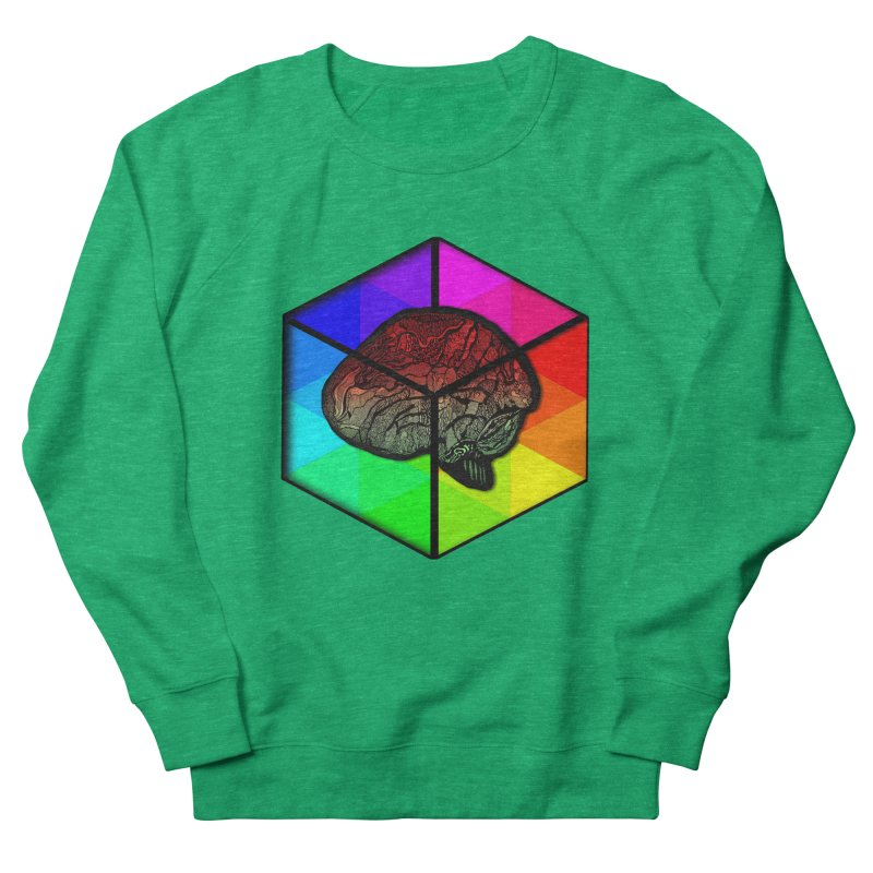 Brain Cube on Color Women's Sweatshirt by MCGILSKY DESIGN SHOP