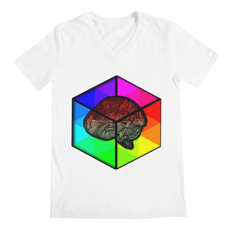 Brain Cube on Color Men's V-Neck by MCGILSKY DESIGN SHOP