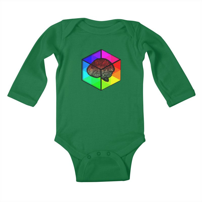 Brain Cube on Color Kids Baby Longsleeve Bodysuit by MCGILSKY DESIGN SHOP