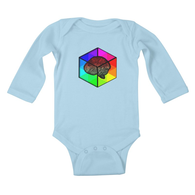 Brain Cube on Color Kids Baby Longsleeve Bodysuit by MCGILSKY DESIGN SHOP