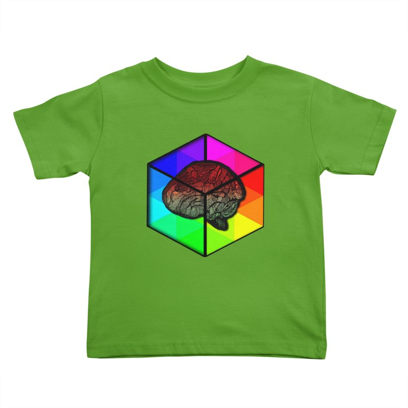 Brain Cube on Color Kids Toddler T-Shirt by MCGILSKY DESIGN SHOP