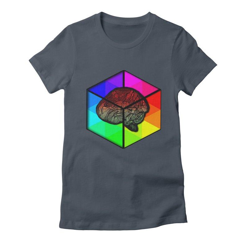 Brain Cube on Color Women's T-Shirt by MCGILSKY DESIGN SHOP