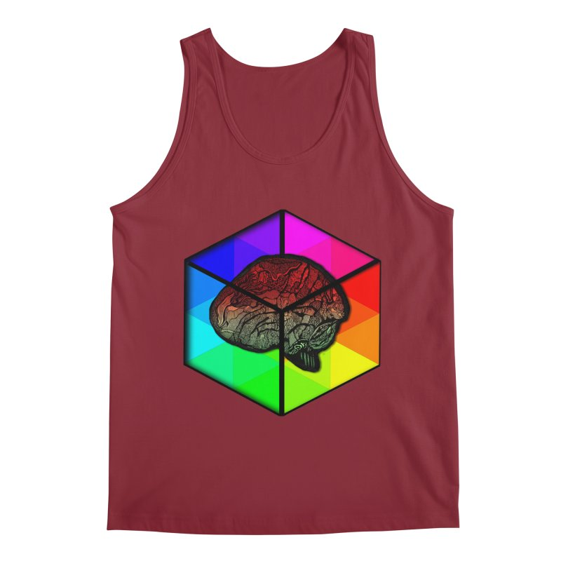 Brain Cube on Color Men's Tank by MCGILSKY DESIGN SHOP