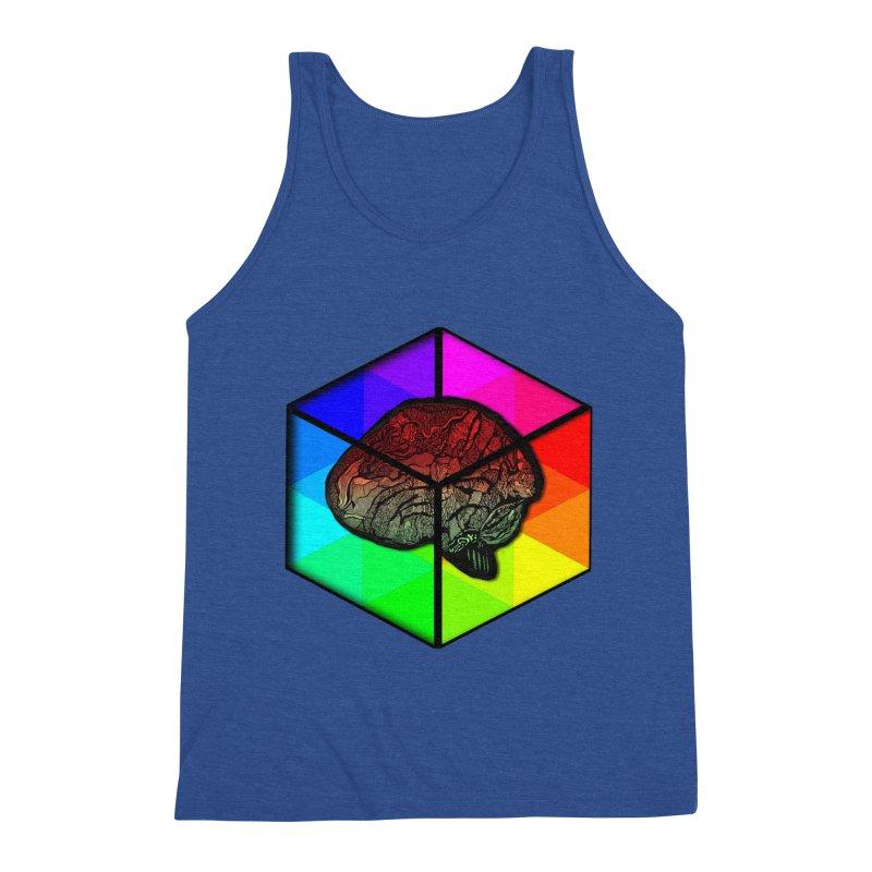 Brain Cube on Color Men's Tank by MCGILSKY DESIGN SHOP