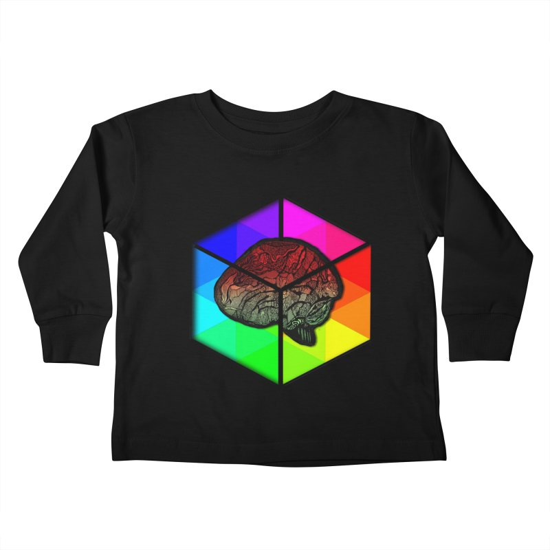 Brain Cube on Color Kids Toddler Longsleeve T-Shirt by MCGILSKY DESIGN SHOP