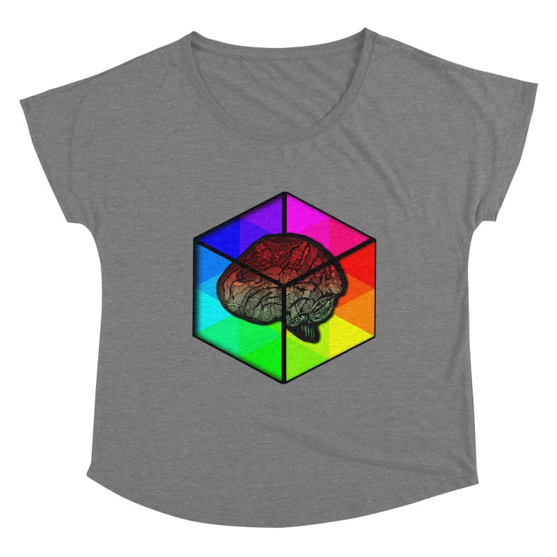 Brain Cube on Color Women's Scoop Neck by MCGILSKY DESIGN SHOP