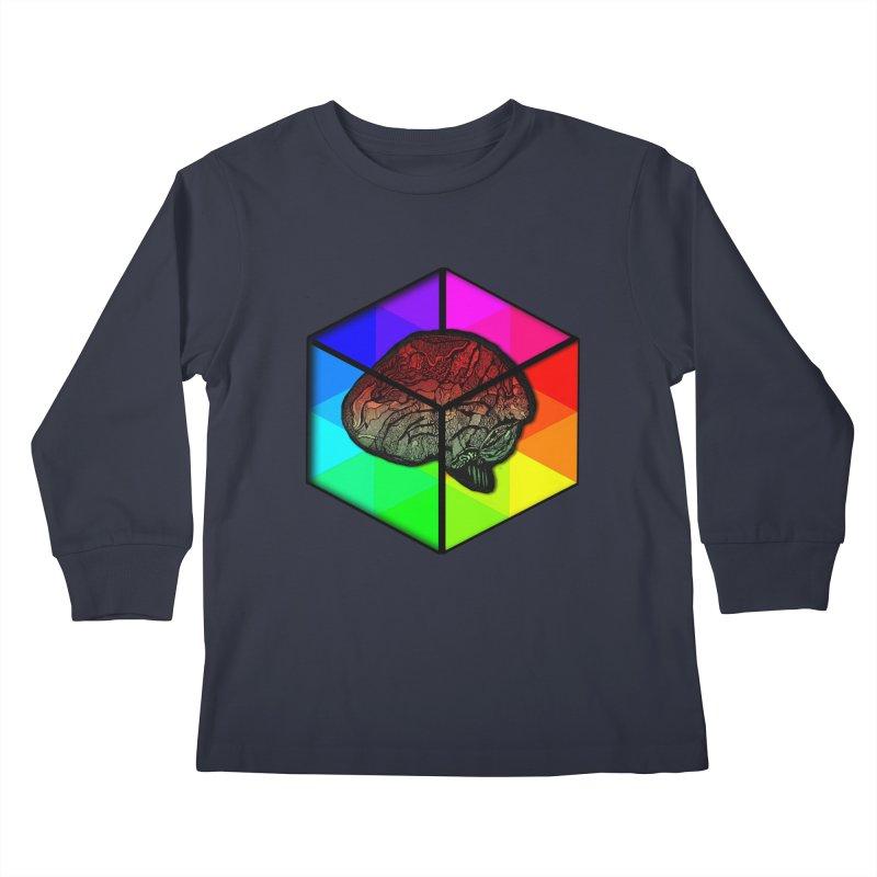 Brain Cube on Color Kids Longsleeve T-Shirt by MCGILSKY DESIGN SHOP