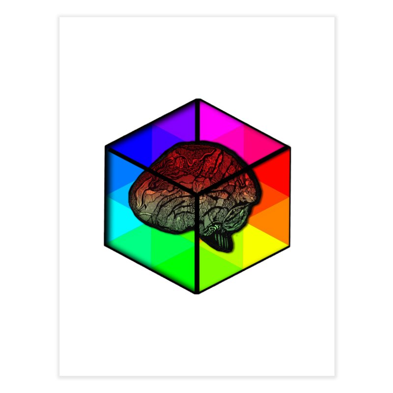Brain Cube on Color Home Fine Art Print by MCGILSKY DESIGN SHOP