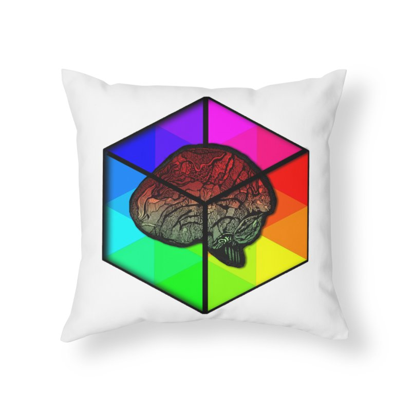 Brain Cube on Color Home Throw Pillow by MCGILSKY DESIGN SHOP