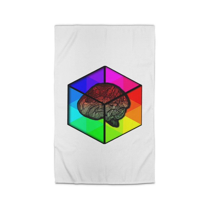Brain Cube on Color Home Rug by MCGILSKY DESIGN SHOP