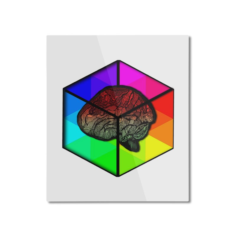 Brain Cube on Color Home Mounted Aluminum Print by MCGILSKY DESIGN SHOP