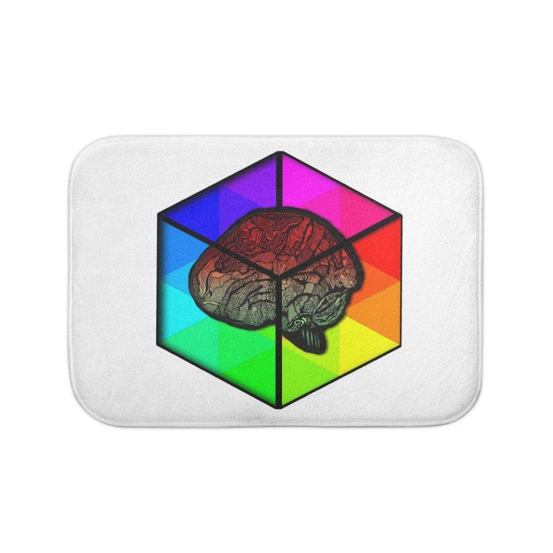 Brain Cube on Color Home Bath Mat by MCGILSKY DESIGN SHOP