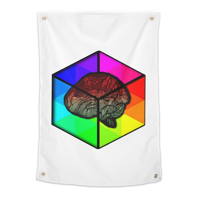 Brain Cube on Color Home Tapestry by MCGILSKY DESIGN SHOP
