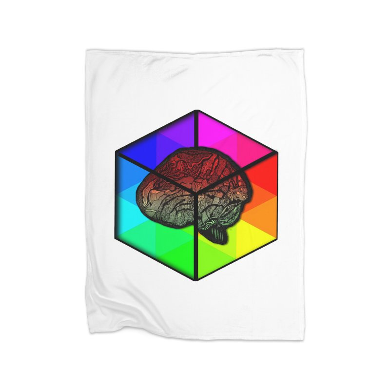 Brain Cube on Color Home Blanket by MCGILSKY DESIGN SHOP