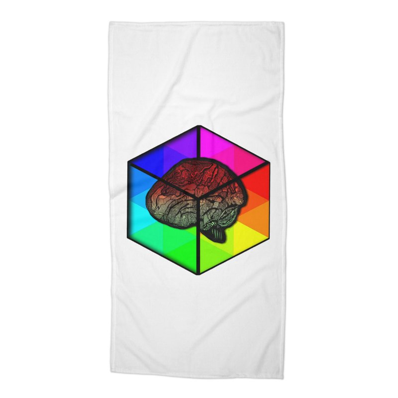 Brain Cube on Color Accessories Beach Towel by MCGILSKY DESIGN SHOP