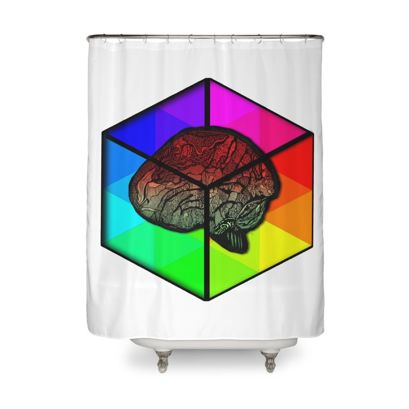 Brain Cube on Color Home Shower Curtain by MCGILSKY DESIGN SHOP