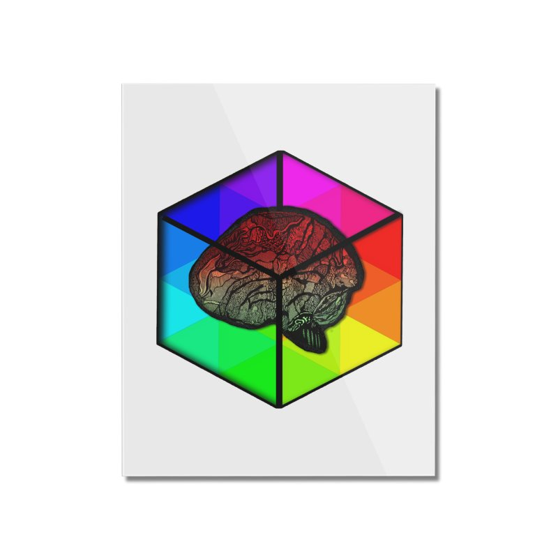 Brain Cube on Color Home Mounted Acrylic Print by MCGILSKY DESIGN SHOP