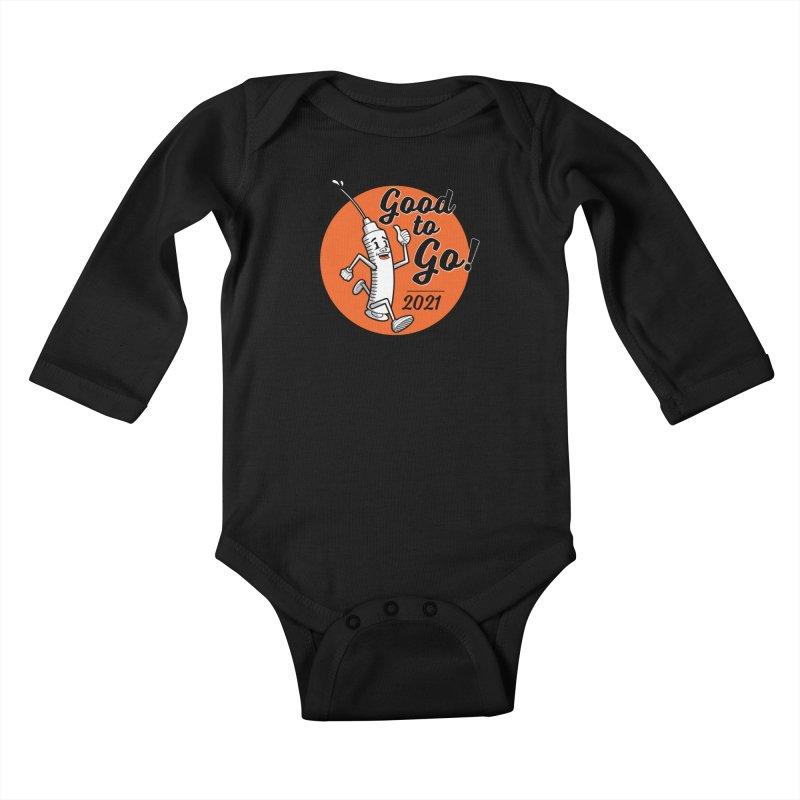 Lil' Vaxy is Good to Go! on Black Kids Baby Longsleeve Bodysuit by mckibillo's Artist Shop
