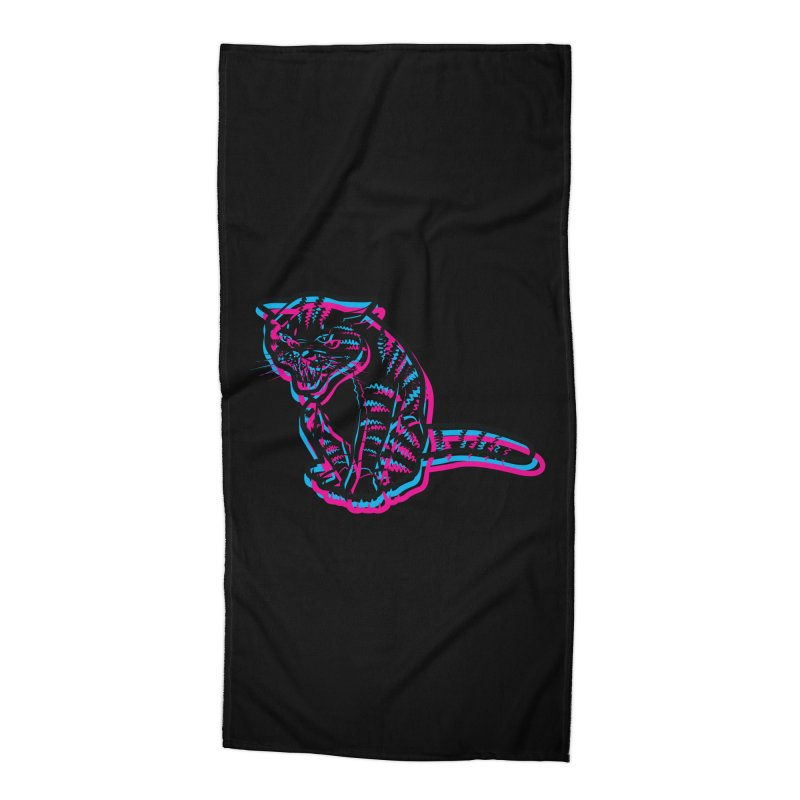 Scary Cat Accessories Beach Towel by mckibillo's Artist Shop