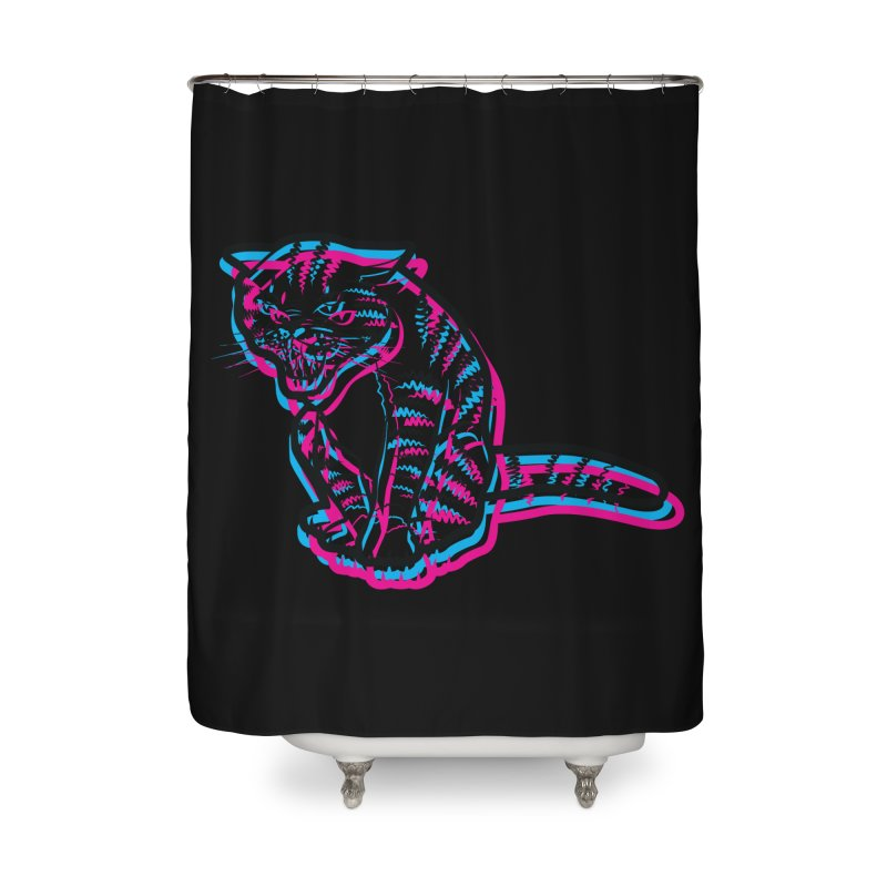 Scary Cat Home Shower Curtain by mckibillo's Artist Shop