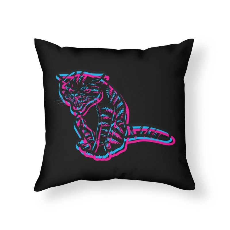 Scary Cat Home Throw Pillow by mckibillo's Artist Shop
