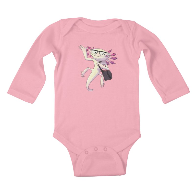 A is for Axolotl Kids Baby Longsleeve Bodysuit by mcthrill's Artist Shop