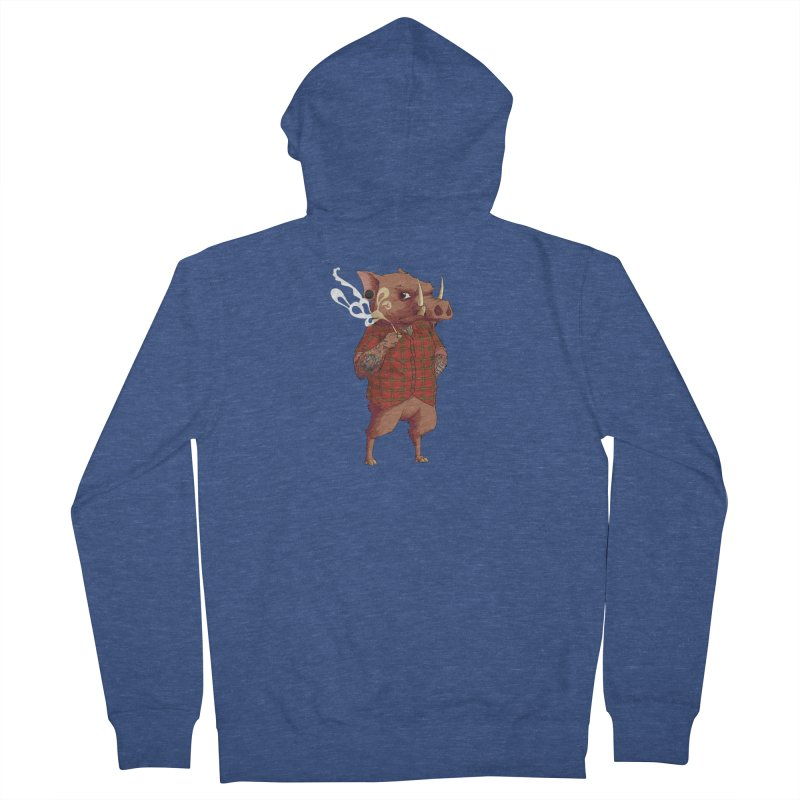 B is for Babirusa Men's French Terry Zip-Up Hoody by mcthrill's Artist Shop