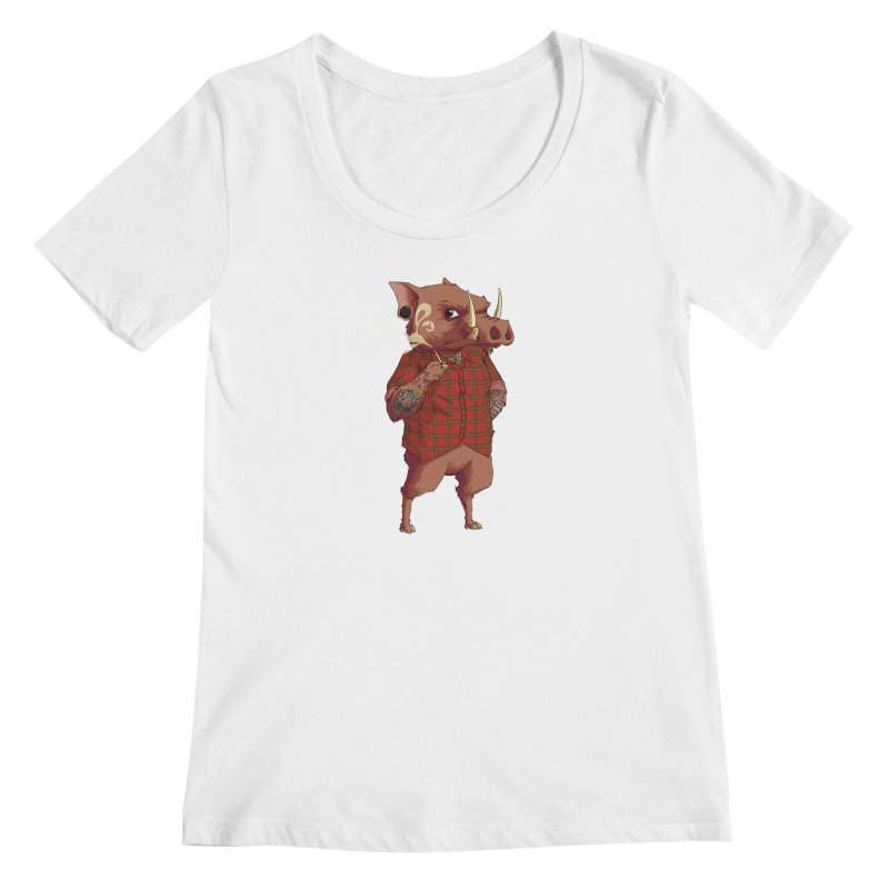 B is for Babirusa Women's Regular Scoop Neck by mcthrill's Artist Shop