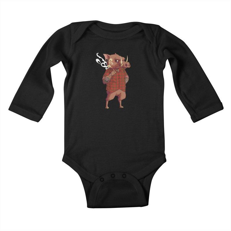 B is for Babirusa Kids Baby Longsleeve Bodysuit by mcthrill's Artist Shop