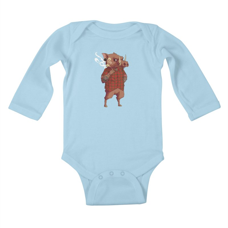B is for Babirusa Kids Baby Longsleeve Bodysuit by mcthrill's Artist Shop