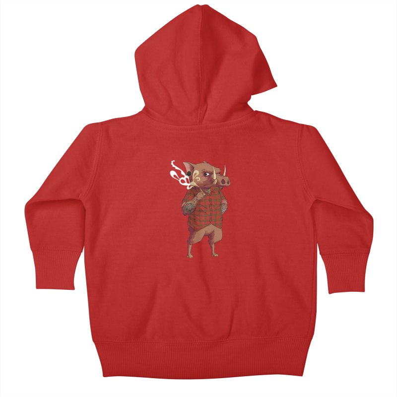 B is for Babirusa Kids Baby Zip-Up Hoody by mcthrill's Artist Shop