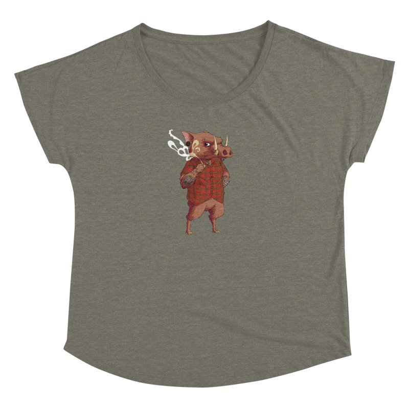 B is for Babirusa Women's Dolman Scoop Neck by mcthrill's Artist Shop