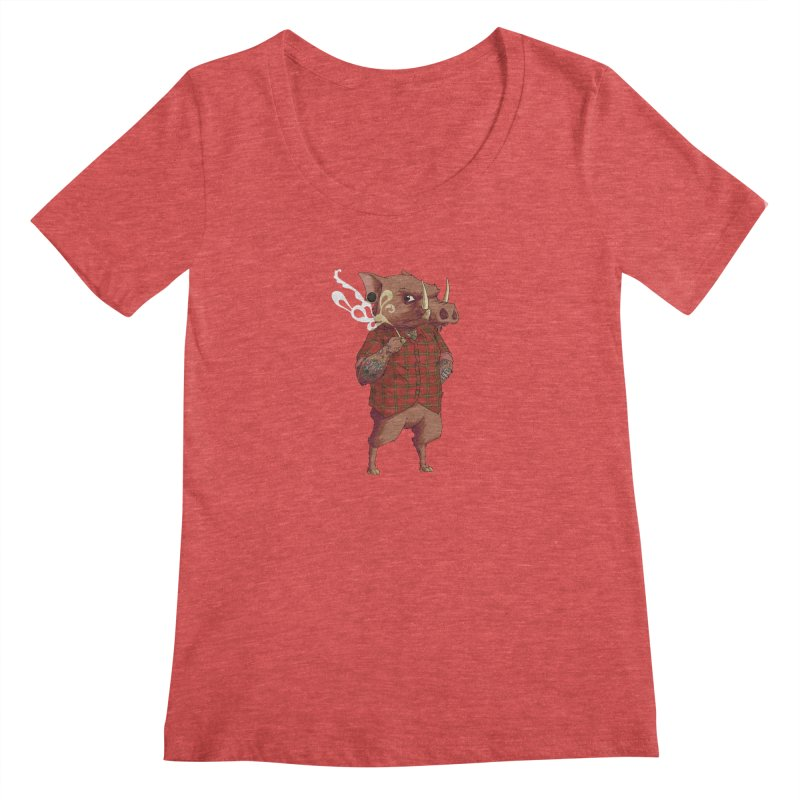 B is for Babirusa Women's Scoopneck by mcthrill's Artist Shop