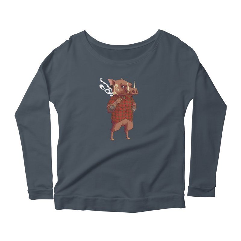 B is for Babirusa Women's Longsleeve Scoopneck  by mcthrill's Artist Shop