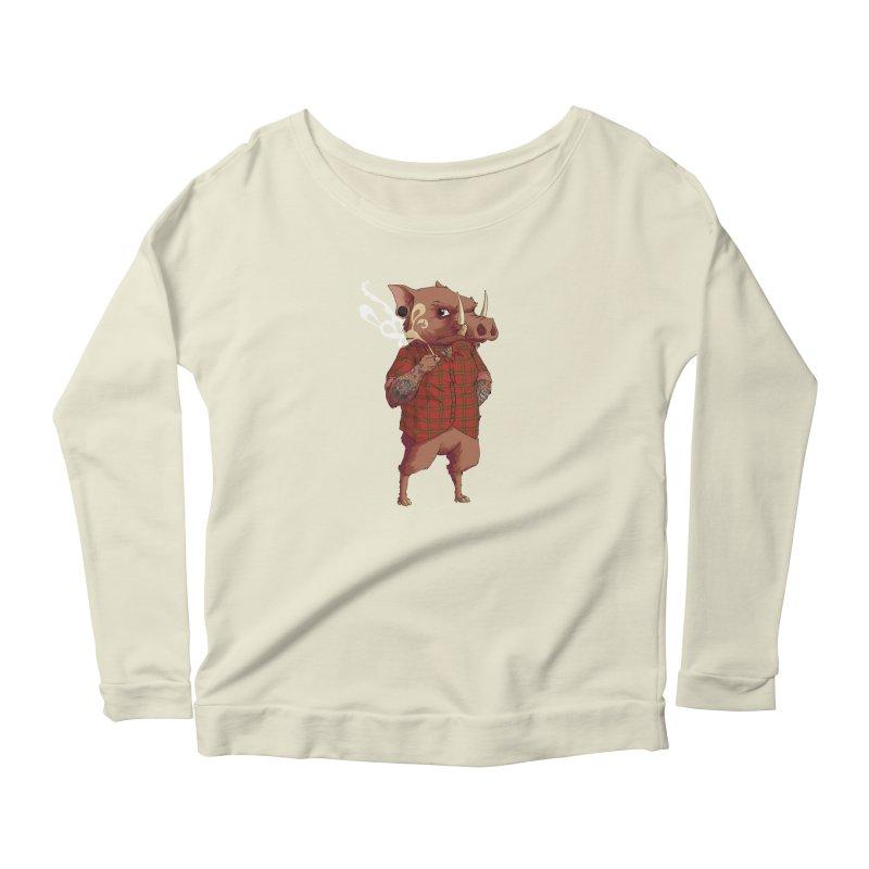 B is for Babirusa Women's Scoop Neck Longsleeve T-Shirt by mcthrill's Artist Shop