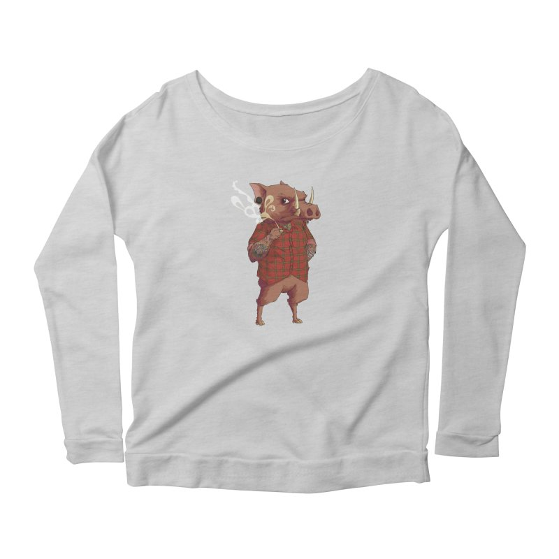 B is for Babirusa Women's Scoop Neck Longsleeve T-Shirt by mcthrill's Artist Shop
