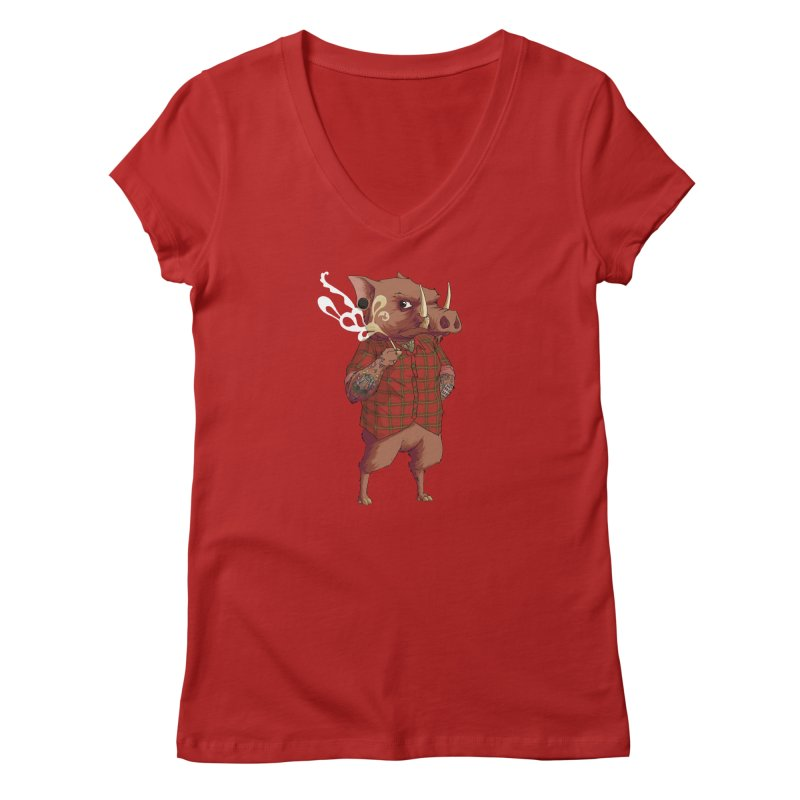B is for Babirusa Women's V-Neck by mcthrill's Artist Shop