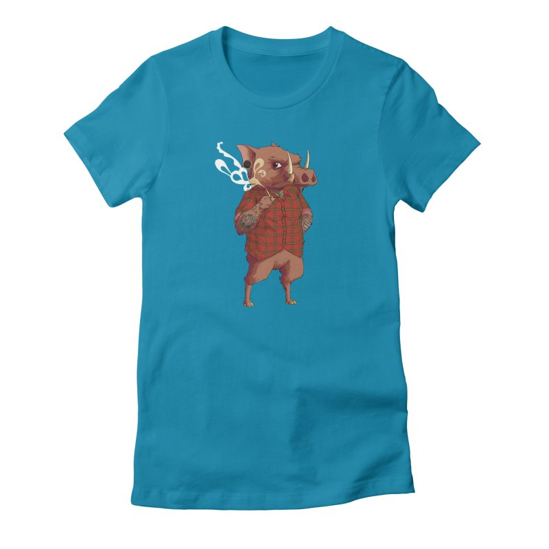 B is for Babirusa Women's Fitted T-Shirt by mcthrill's Artist Shop