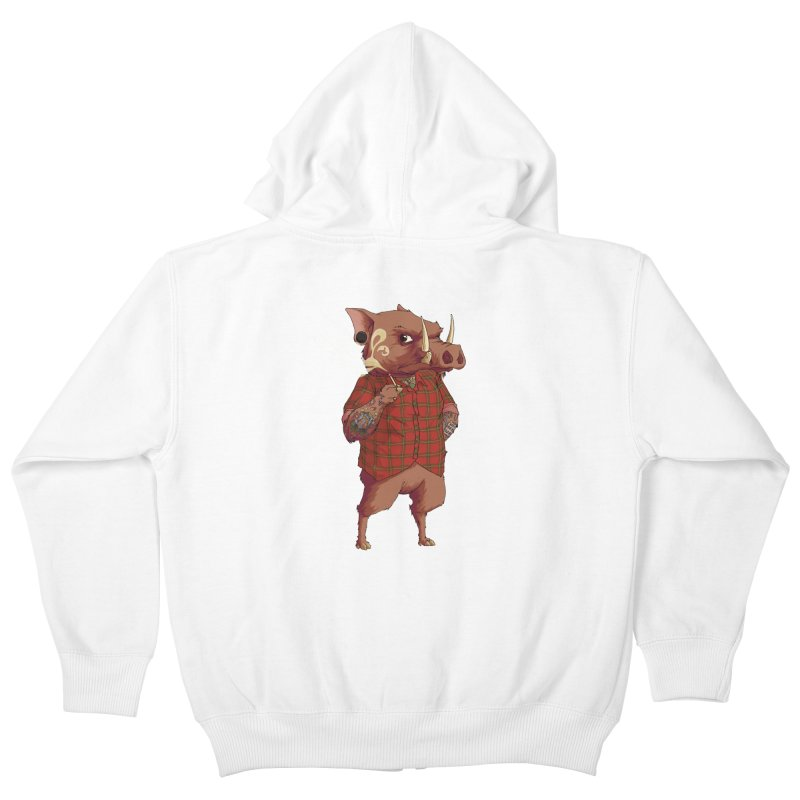 B is for Babirusa Kids Zip-Up Hoody by mcthrill's Artist Shop