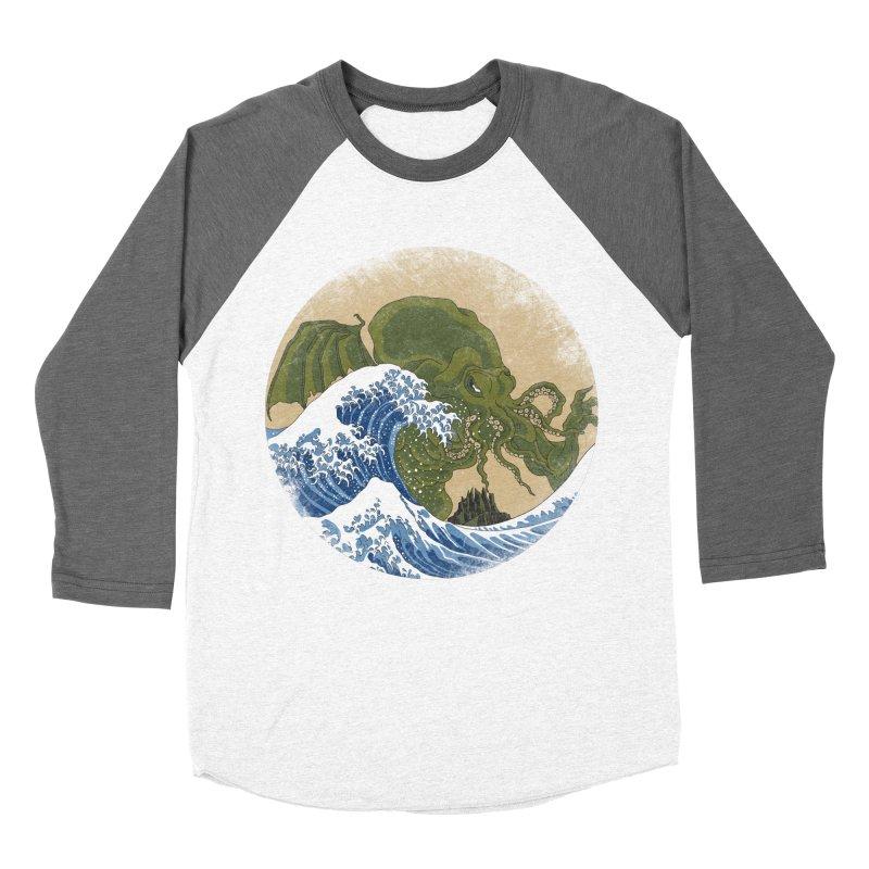 Hokusai Cthulhu  Women's Baseball Triblend Longsleeve T-Shirt by Mdk7's Artist Shop