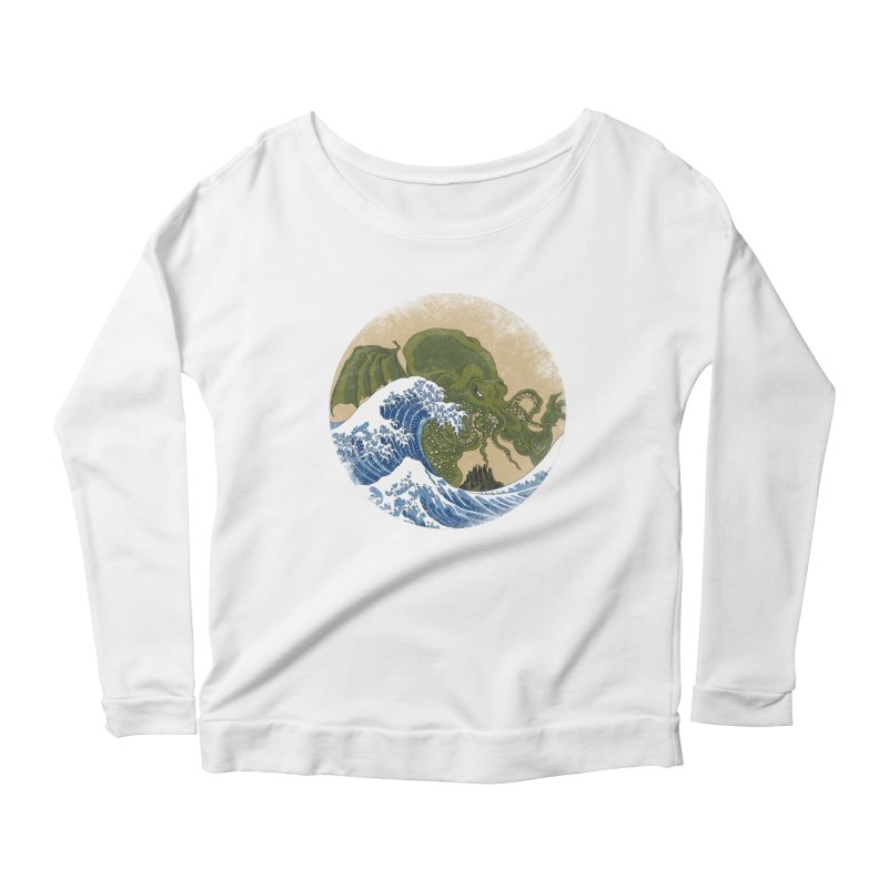 Hokusai Cthulhu  Women's Scoop Neck Longsleeve T-Shirt by Mdk7's Artist Shop