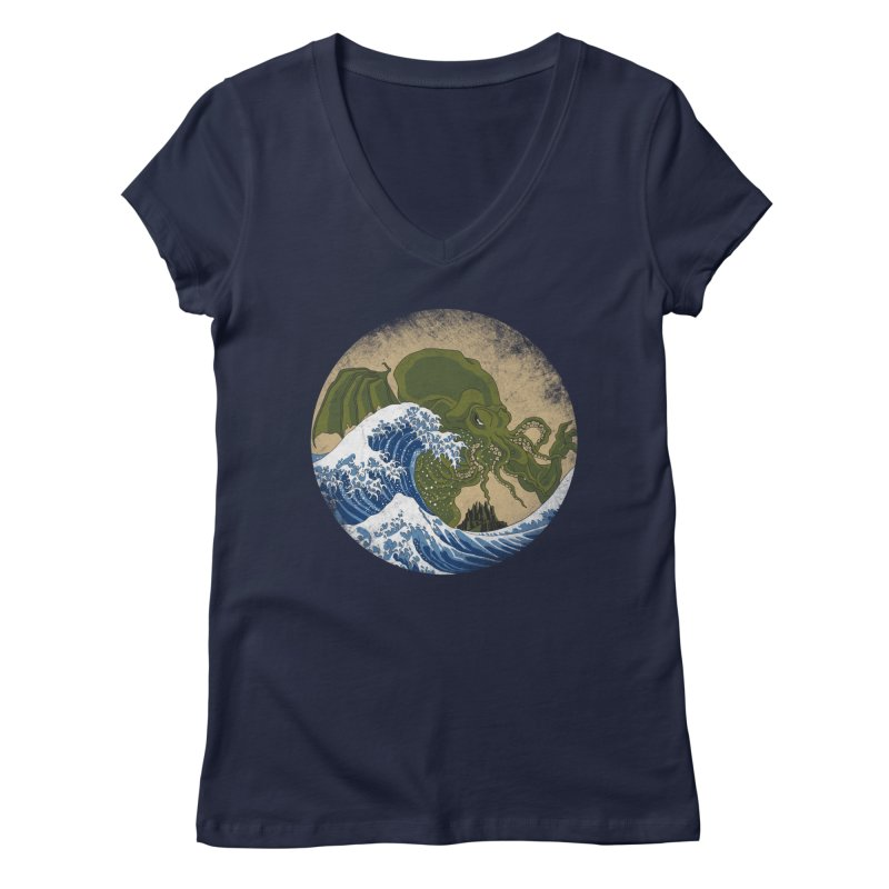 Hokusai Cthulhu  Women's Regular V-Neck by Mdk7's Artist Shop