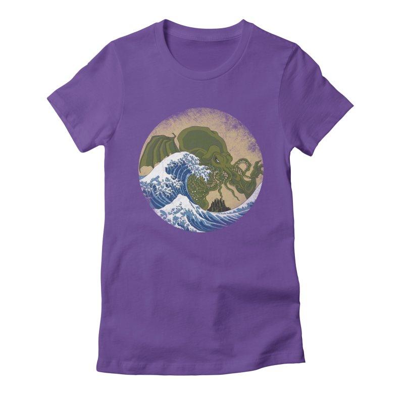 Hokusai Cthulhu  Women's Fitted T-Shirt by Mdk7's Artist Shop