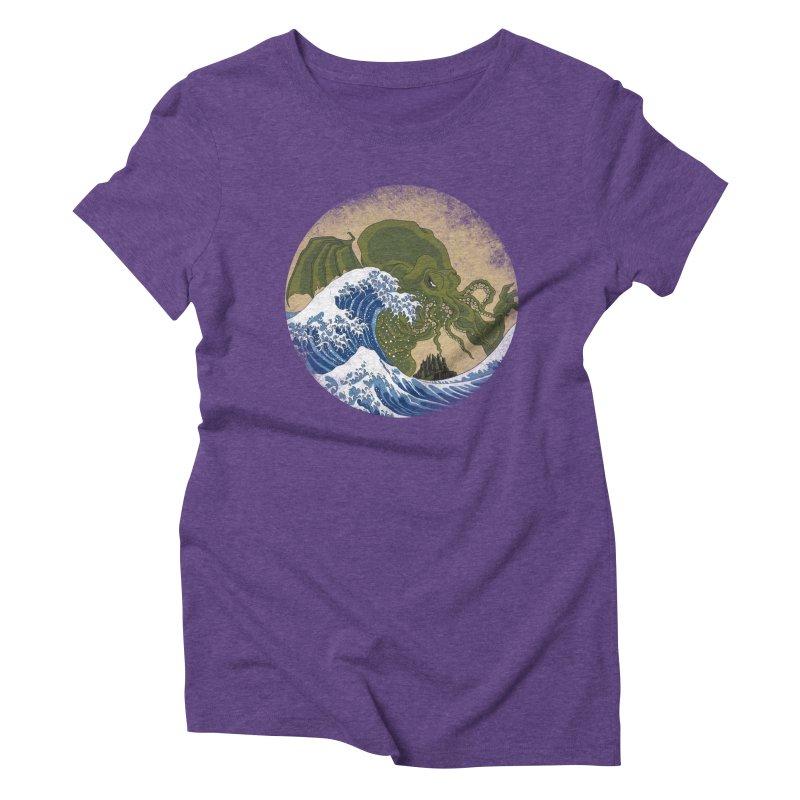 Hokusai Cthulhu  Women's Triblend T-Shirt by Mdk7's Artist Shop