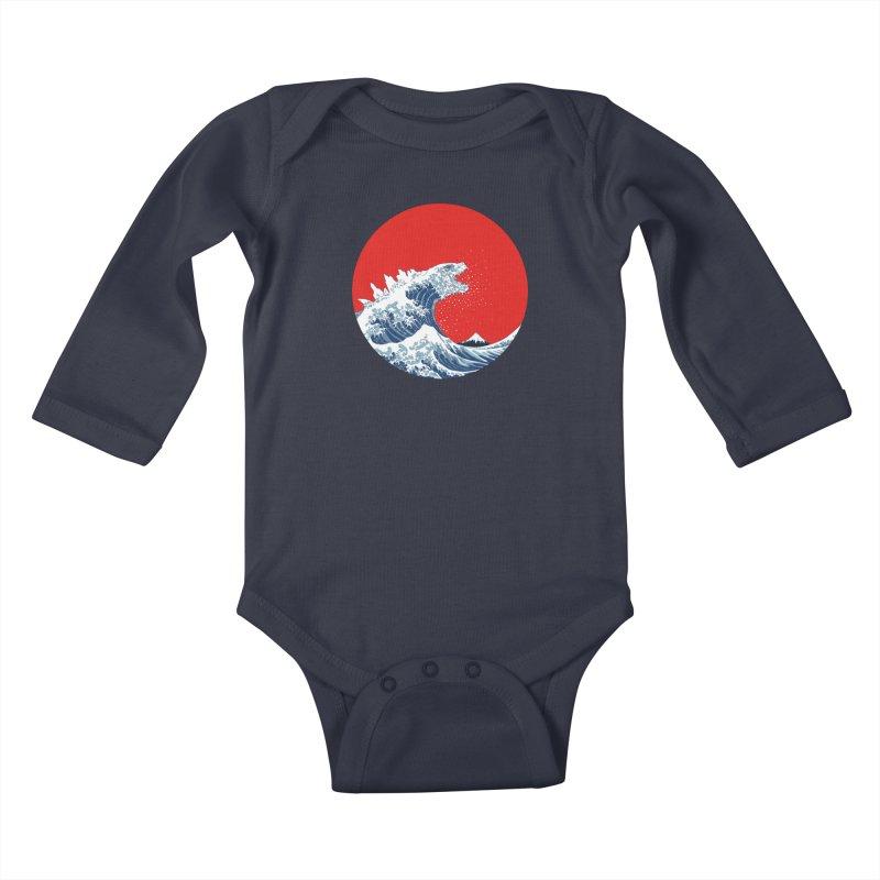 Hokusai Kaiju Kids Baby Longsleeve Bodysuit by Mdk7's Artist Shop