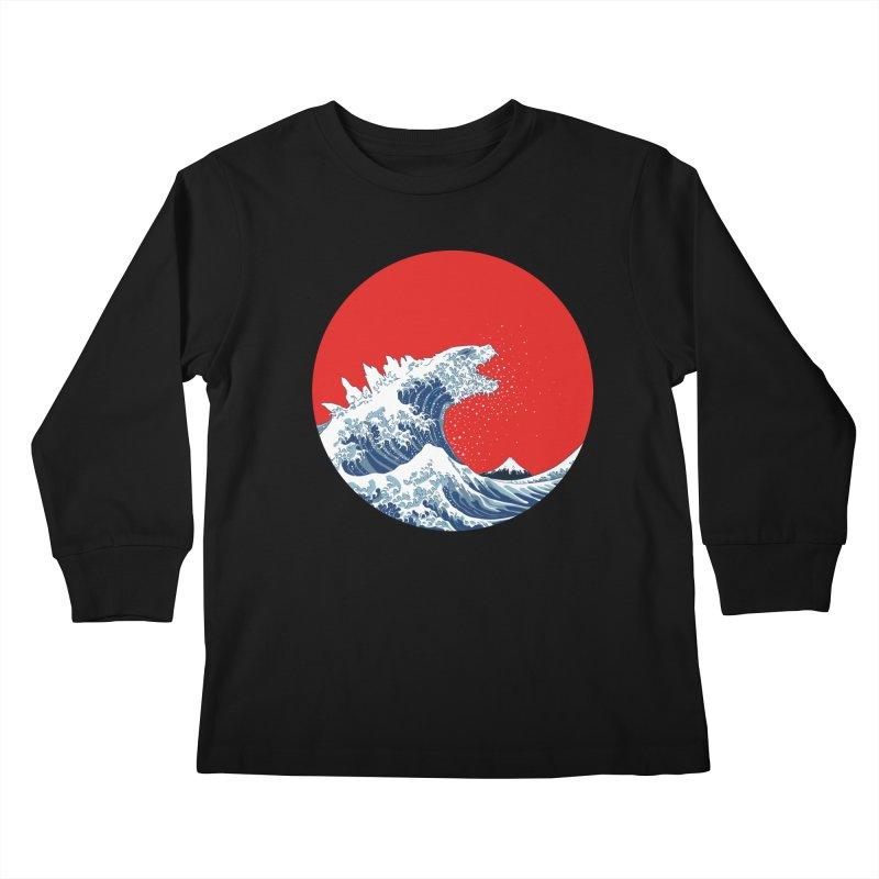 Hokusai Kaiju Kids Longsleeve T-Shirt by Mdk7's Artist Shop