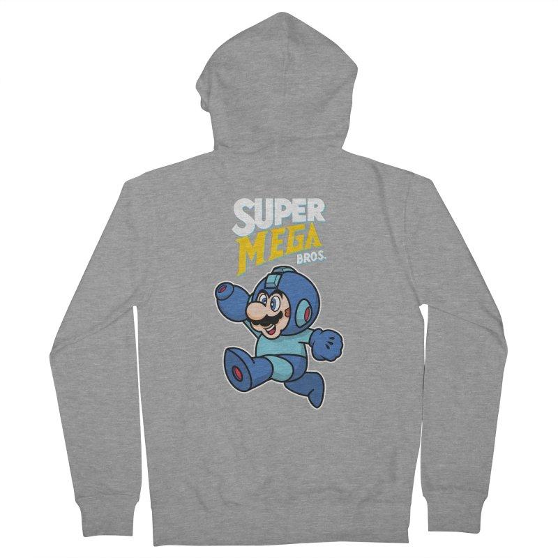 Super Mega Bros  Men's French Terry Zip-Up Hoody by Mdk7's Artist Shop